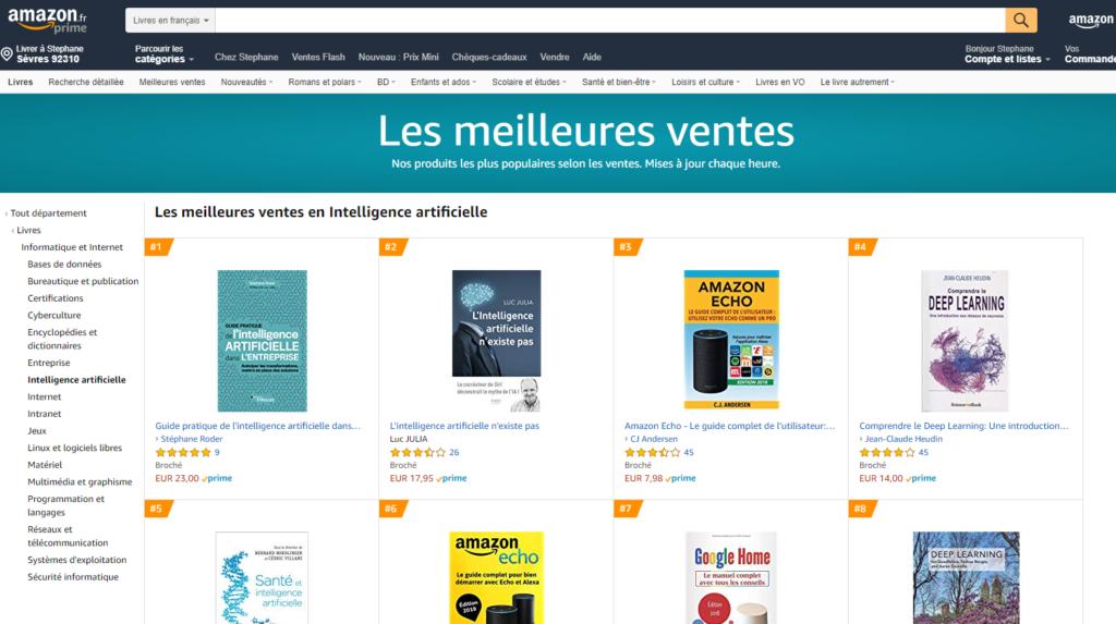 """No.1 des ventes sur Amazon le 15 Mai 2019 dans la catégorie IA : """"Le Guide de l'Intelligence Artificielle dans l'entreprise"""""""